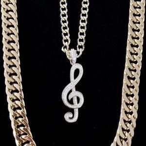 MUSIC NOTE SET FULL DIAMONDS CZ 18K GOLD CHAIN
